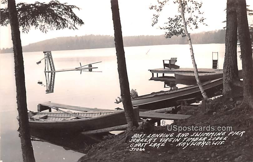 Boat Landing and Swimming Pier - Hayward, Wisconsin WI Postcard
