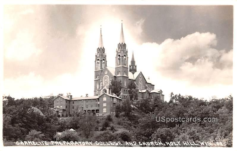 Carmelite Preparator College and Church - Holy Hill, Wisconsin WI Postcard
