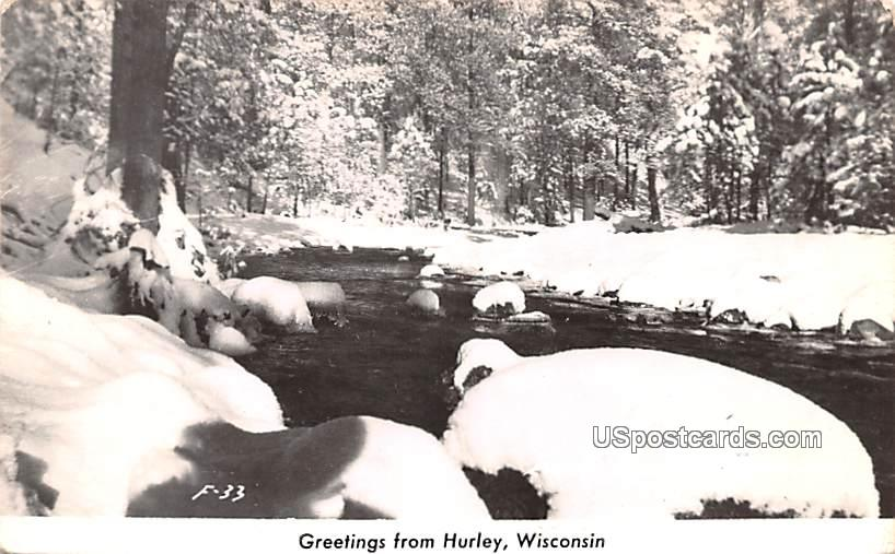 Greetings from - Hurley, Wisconsin WI Postcard