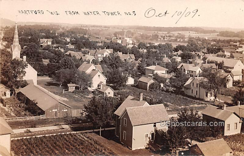 View from Water Tower No 5 - Hartford, Wisconsin WI Postcard