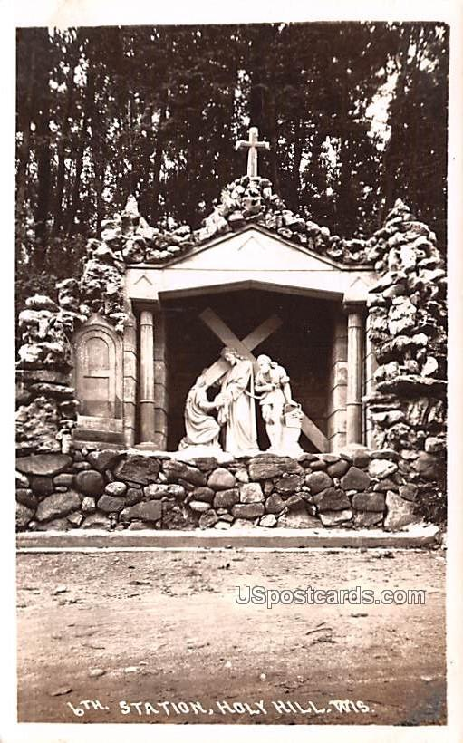 6th Station Statues - Holy Hill, Wisconsin WI Postcard