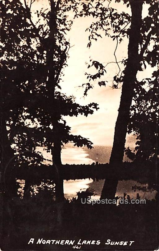 Northern Lakes Sunset - Iron River, Wisconsin WI Postcard