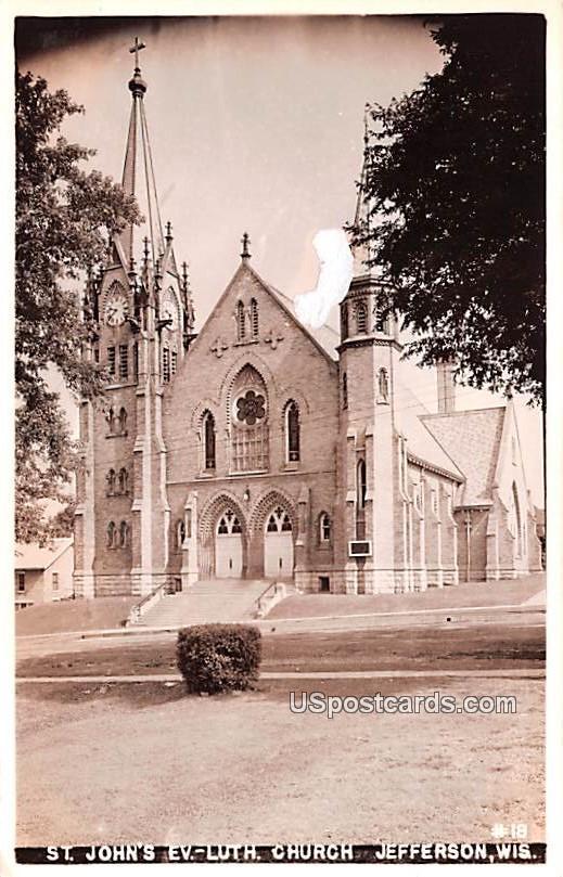 St John's Evangelical Lutheran Church - Jefferson, Wisconsin WI Postcard