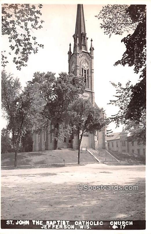 St John the Baptist Catholic Church - Jefferson, Wisconsin WI Postcard