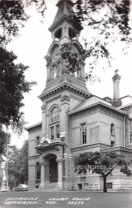 Entrance Court House - Jefferson, Wisconsin WI Postcard