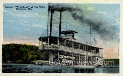Steamer Winnebago at the Dells - Kilbourn, Wisconsin WI Postcard
