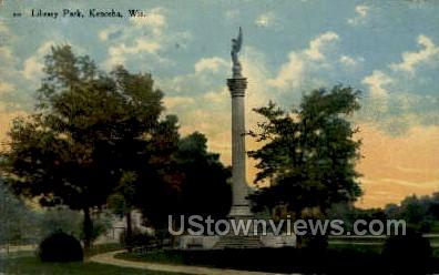 Library Park - Kenosha, Wisconsin WI Postcard