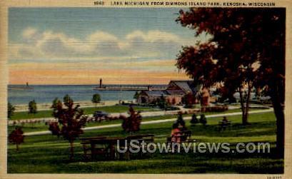 Lake Michigan  - Kenosha, Wisconsin WI Postcard