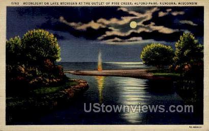 Lake Michigan Alford Park - Kenosha, Wisconsin WI Postcard