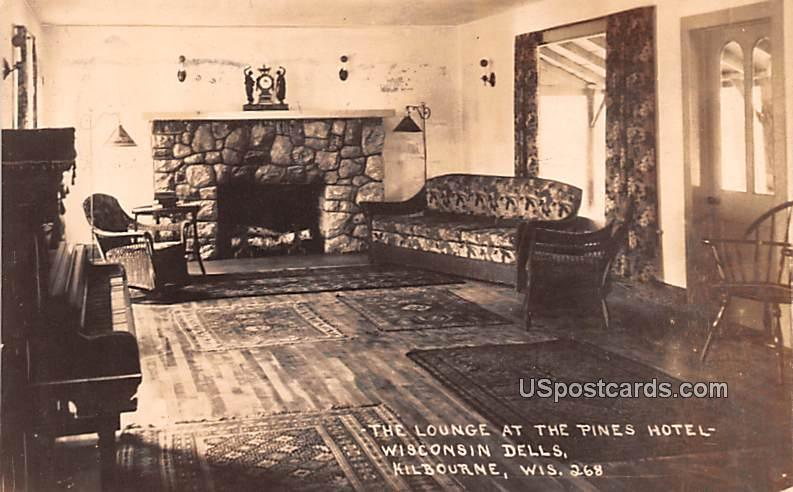 Lounge at Pines Hotel - Kilbourne, Wisconsin WI Postcard