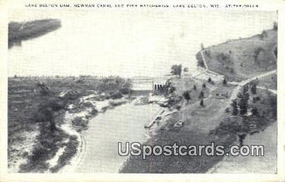 Newman Canal & Fish Hatcheries - Lake Delton, Wisconsin WI Postcard