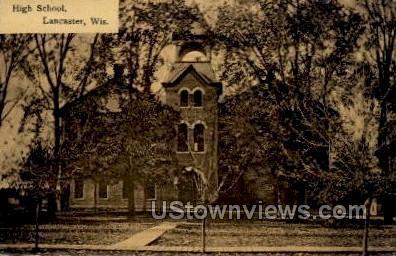 High School - Lancaster, Wisconsin WI Postcard