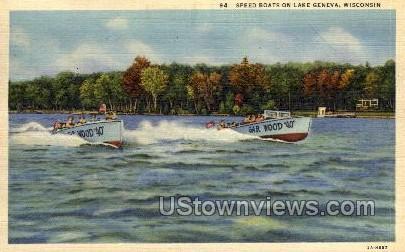 Speed Boats - Lake Geneva, Wisconsin WI Postcard