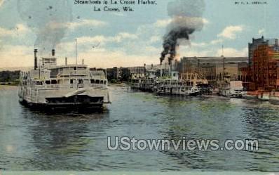 Steamboats in La Crosse Harbor - Wisconsin WI Postcard