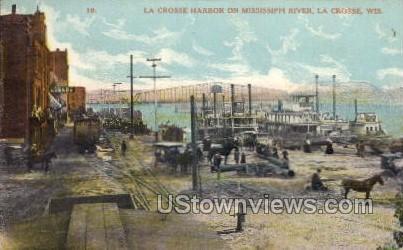 La Crosse Harbor on Mississippi River - Wisconsin WI Postcard