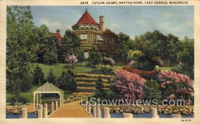 Ceylon Court, Maytag Home - Lake Geneva, Wisconsin WI Postcard
