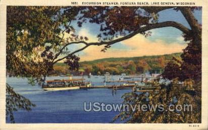 Excursion Steamer, Fontana Beach - Lake Geneva, Wisconsin WI Postcard
