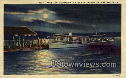 Moonligh Excursion - Lake Geneva, Wisconsin WI Postcard