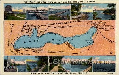 Scenes on an Auto Trip - Lake Geneva, Wisconsin WI Postcard