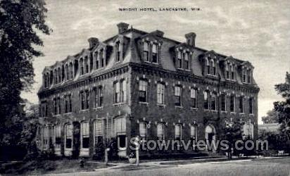 Wright Hotel - Lancaster, Wisconsin WI Postcard