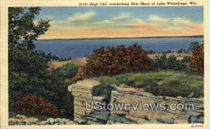 High Cliff overlooking shore - Lake Winnebago, Wisconsin WI Postcard