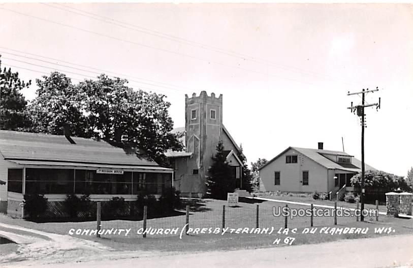 Community Church - Lac Du Flamdeau, Wisconsin WI Postcard