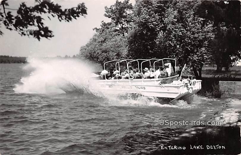 Entering on Boat - Lake Delton, Wisconsin WI Postcard