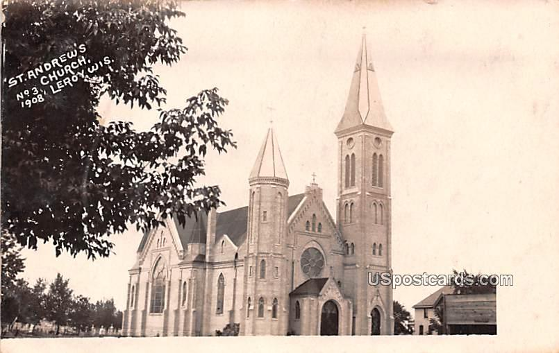 St Andrew's Church - Leroy, Wisconsin WI Postcard