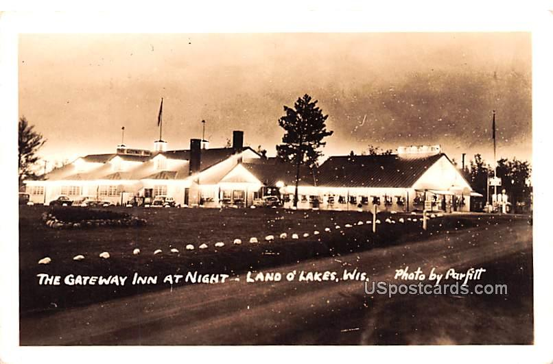 Gateway Inn at Night - Land O Lakes, Wisconsin WI Postcard