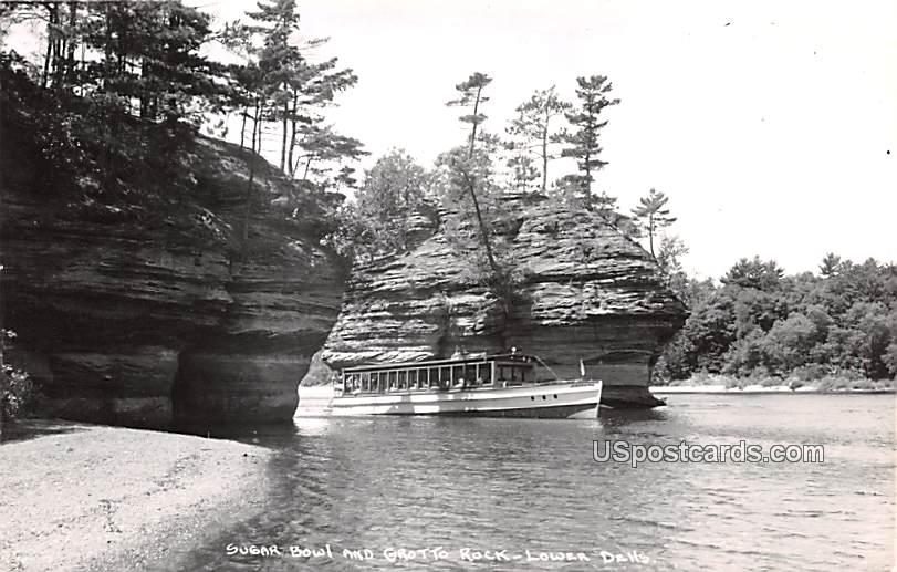 Sugar Bowl and Grotto Rock - Lower Dells, Wisconsin WI Postcard