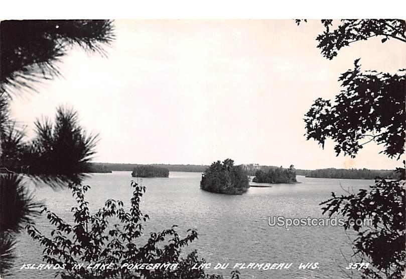 Islands in Lake Pokegama - Lac Du Flamdeau, Wisconsin WI Postcard