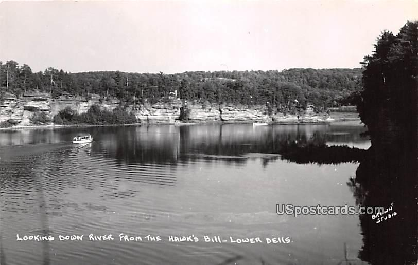 Looking Down River - Lower Dells, Wisconsin WI Postcard