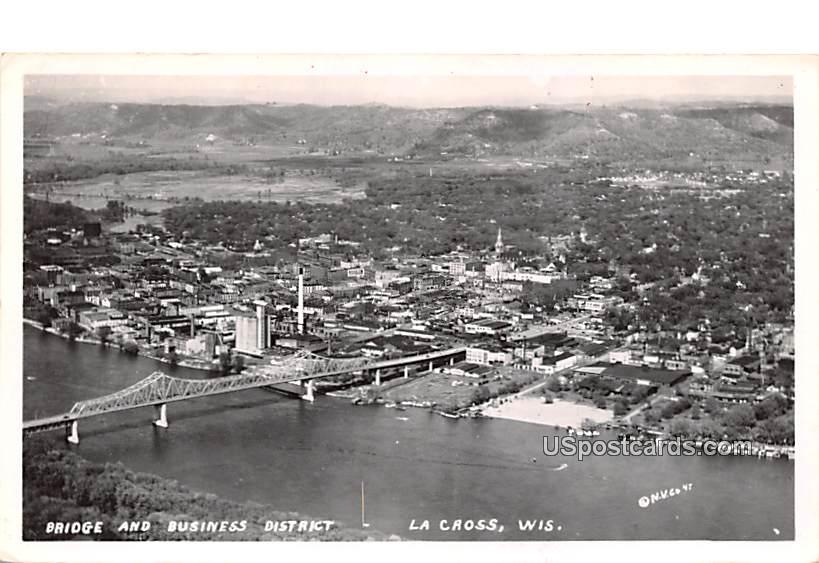 Bridge and Business District - La Cross, Wisconsin WI Postcard