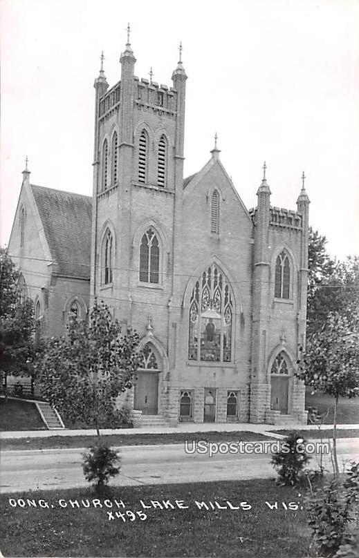 Congregational Church - Lake Mills, Wisconsin WI Postcard