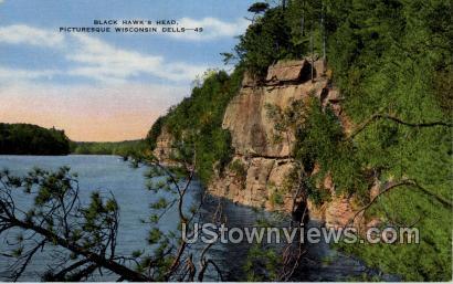 Black Hawk's Head - Misc, Wisconsin WI Postcard