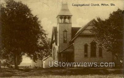 Congregational Church - Milton, Wisconsin WI Postcard