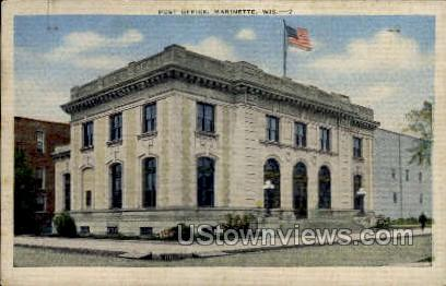 Post Office - Marinette, Wisconsin WI Postcard