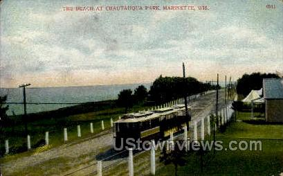 The Beach At Chautauqua Park - Marinette, Wisconsin WI Postcard