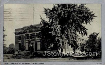 Post Office - Merrill, Wisconsin WI Postcard
