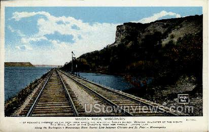 Mississippi River - Maiden Rock, Wisconsin WI Postcard