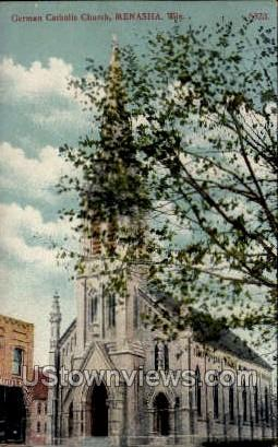 German Catholic Church  - Menasha, Wisconsin WI Postcard