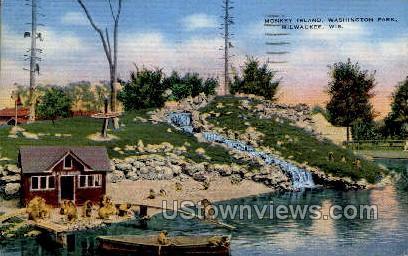 Washington Parks Monkey Island - MIlwaukee, Wisconsin WI Postcard