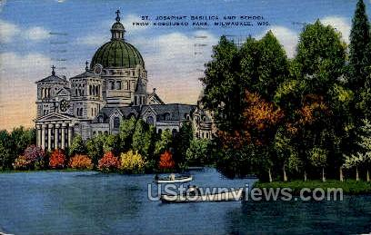 St. Josaphat Basilica and School - MIlwaukee, Wisconsin WI Postcard