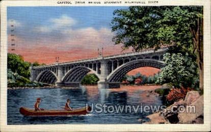 Capitol Drive Bridge  - MIlwaukee, Wisconsin WI Postcard