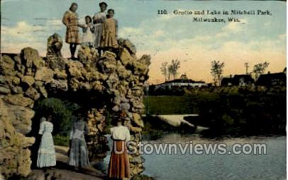 Grotto and Lake in Mitchell Park - MIlwaukee, Wisconsin WI Postcard