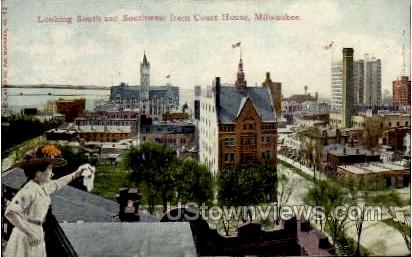 Looking Southwest From Courthouse - MIlwaukee, Wisconsin WI Postcard