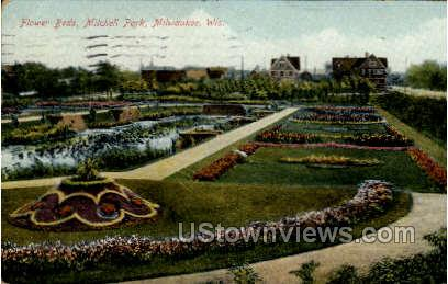 Flower Beds In Mitchell Park - MIlwaukee, Wisconsin WI Postcard