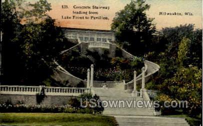 Concrete Stairway Leading To Pavilion - MIlwaukee, Wisconsin WI Postcard