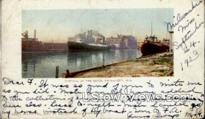 Shipping On The River - MIlwaukee, Wisconsin WI Postcard