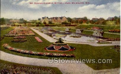 Sunken Gardens, Mitchell Park - MIlwaukee, Wisconsin WI Postcard
